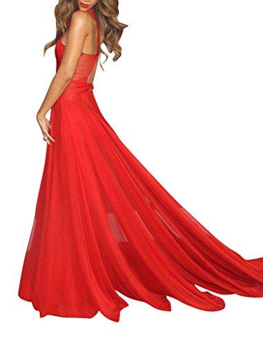 Abendkleid Kreuz Chiffon Rotes Design GEORGE BRIDE Rot w0g7q