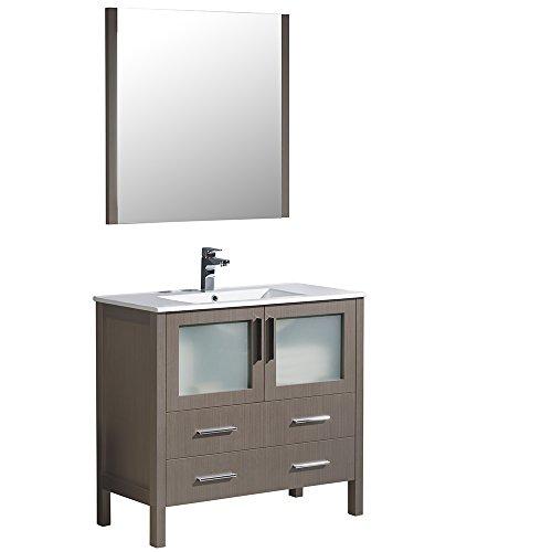 Bathroom Modern Vanity Espresso (Fresca FVN6236GO-UNS-FFT1046BN Torino Espresso Modern Bathroom Vanity with Integrated Sink, 36