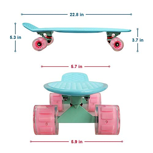 Complete 22inches Cruiser Skateboard for Beginners – Kids Girls Boys Skateboard Plastic Banana Board with Colorful LED Wheels for School and Travel