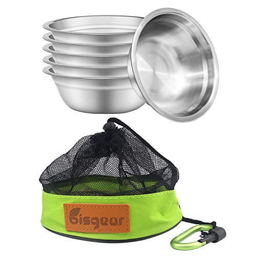 Bisgear 6pcs Backpacking Camping Stainless Steel 6 inch Bowl + Carabiner + DishclothMess Kit Setwith Mesh TravelBag Lightweight Dinnerware Round BPA Free Serving Bowls for Outdoor Bug Out Picnic