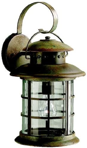 Kichler 9761RST, Rustic Solid Brass Outdoor Wall Sconce Lighting, 150 Total Watts, Rustic