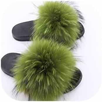 78d4a4e47 fantasticlife06 Real Raccoon Fur Slippers Women Sliders Casual Fox Hair Flat  Fluffy Fashion Home Summer Big