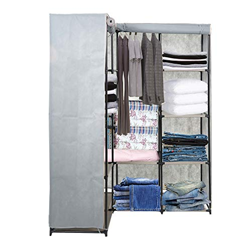 Dporticus Portable Corner Clothes Closet Wardrobe Storage Organizer with Metal Shelves and Dustproof Non-Woven Fabric Cover in Gray (Corner Armoire Closet)