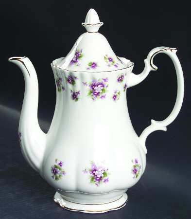ROYAL ALBERT SWEET VIOLET LARGE COFFEE POT (NEW, NEVER USED. MADE IN UK)