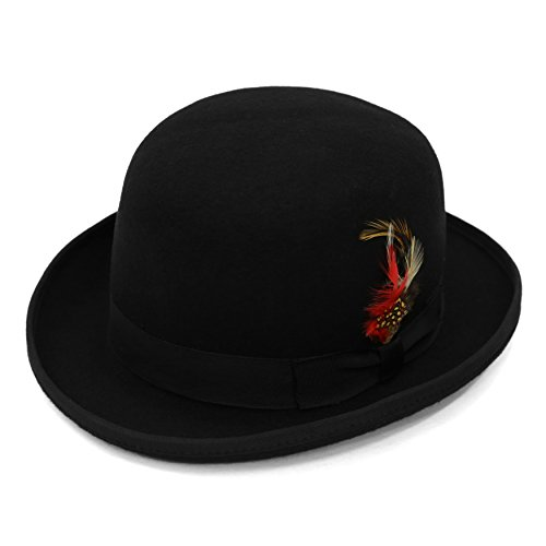 L Ferrecci Men's Black Wool Classic Lined Derby Hat (Bowler Hat)