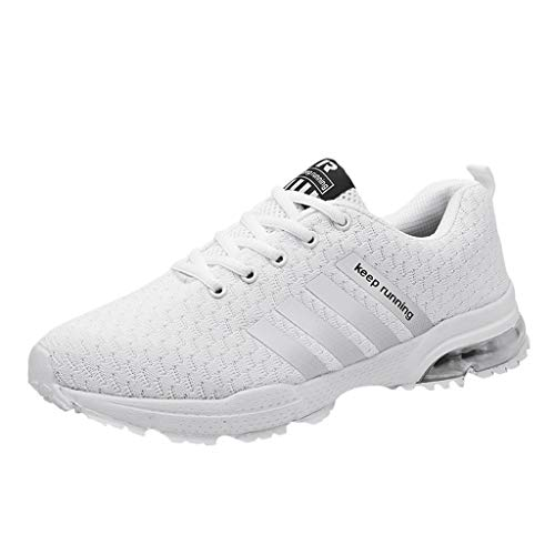 Sinzelimin Men's Sneakers Mesh Breathable Athletic Running Walking Gym Shoes Fashion Personality Shoe Outdoor Sport White
