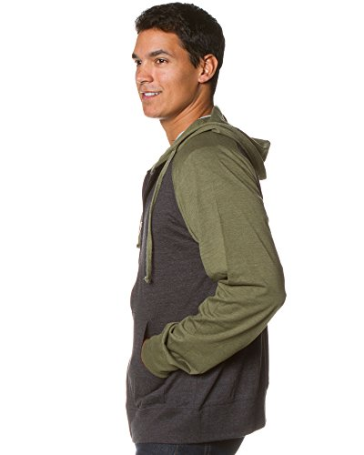 Global Blank Lightweight T-Shirt Material Raglan Zip up Hoodie with Pockets Charcoal/Army M by Global Blank (Image #3)