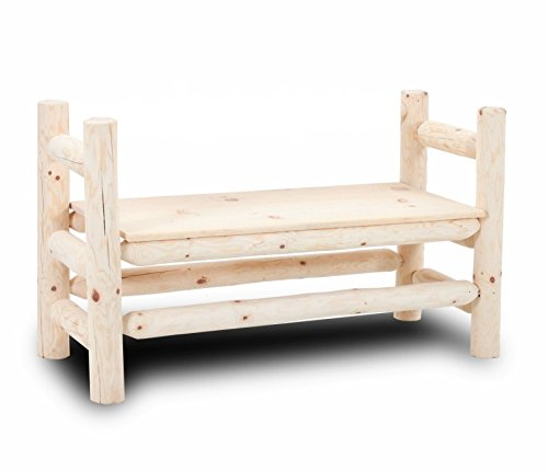 - Rustic Log Boot Bench Solid Pine Furniture bed cabin decor (Natural Clear)