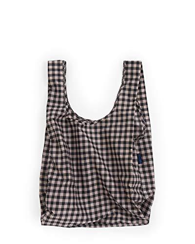 BAGGU Standard Reusable Shopping Bag, Eco-friendly Ripstop Nylon Foldable Grocery Tote, Blush Gingham