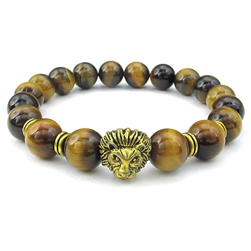 Tiger Brown Bracelet - KONOV Tiger Eye Stone Mens Bracelet, 10mm Natural Energy Gemstone Beads Bangle, Lion Charm, Brown Gold