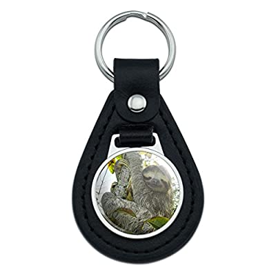 Graphics And More Sloth Pygmy In Tree Black Leather Keychain - 20, Hundredths-Inches, 250, Hundredths-Inches, 13, Hundredths-Pounds, 150, Hundredths-Inches