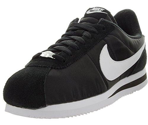 Nike Men's Cortez Basic Nylon Black/White/Metallic Silver Casual Shoe 10