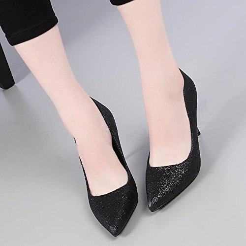 KHSKX-Are All-Match Shallow Mouth Shoes High Heel With A Fine Spiral With Sexy Sequin Shoes Black