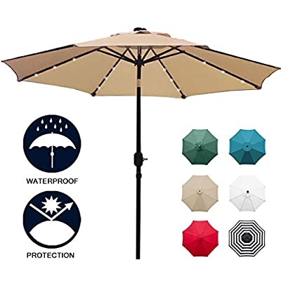 Sunnyglade 9' Solar 24 LED Lighted Patio Umbrella with 8 Ribs/Tilt Adjustment and Crank Lift System