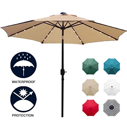 Sunnyglade 9' Solar 24 LED Lighted Patio Umbrella with 8 Ribs/Tilt Adjustment and Crank Lift System (Light - Led Crank 3
