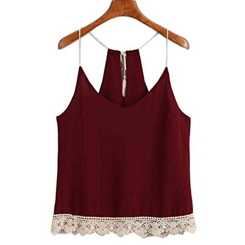 Trimmed Crop (Hunzed Women Fashion Lace Sleeveless Vest Trimmed Tasselled Drawstring Blouse Tank Tops T Shirt Crop Tops Vest (XL, Red))