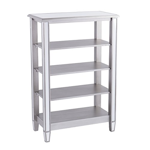 "Furniture Hotspot 4 Shelf Open Bookcase – Mirror w/Silver - 30.5"" W x 17"" D x 44.25"" H by Furniture Hotspot"