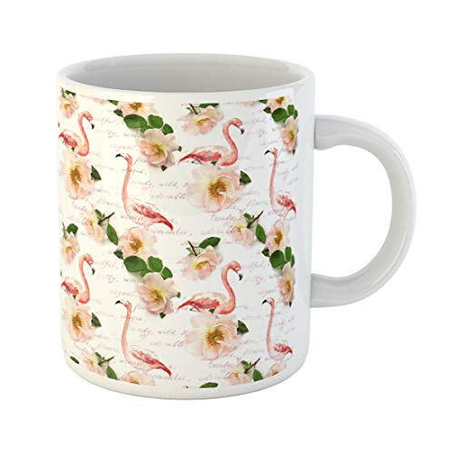 - Semtomn Funny Coffee Mug Wild Roses Flamingo Feathers Note Floral Pattern Flowers Watercolor 11 Oz Ceramic Coffee Mugs Tea Cup Best Gift Or Souvenir