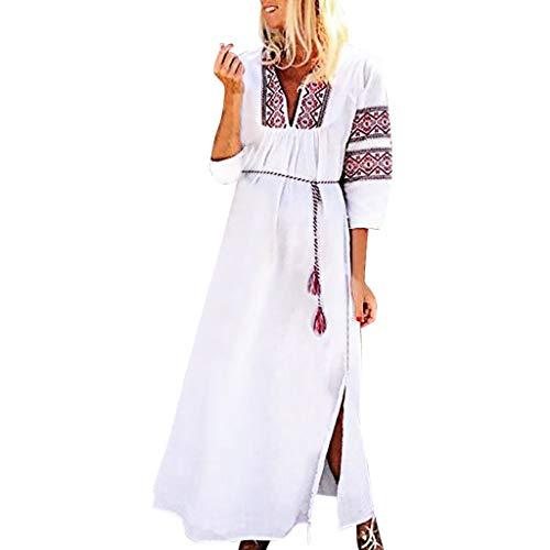 Women Maxi Dress Vintage Summer Print Belt V-Neck Long Sleeves Loose Party Holiday Skirts White
