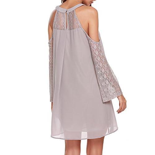 ACEVOG Women's Cold Shoulder Lace Chiffon Mini Patchwork Loose Casual Dress