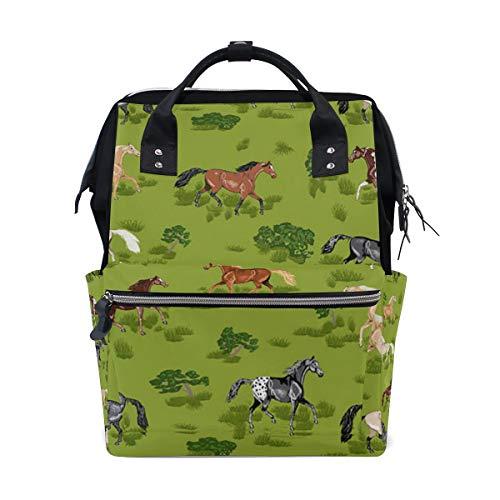 Horse Mens Prancing - Prancing Horses Diaper Bag Backpack, Large Capacity Muti-Function Travel Backpack Nappy Bags Travel Mom Backpack for Baby Care