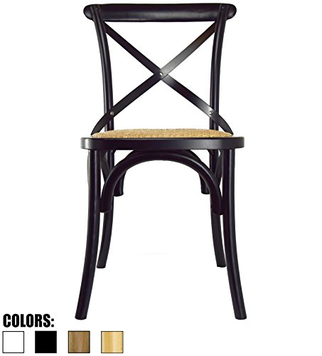 2xhome Black - Cross Back Chair - Solid Real Wooden Frame Antique Style Dining Chair Side Accent Chair with Soft Woven (Woven Back Chairs)
