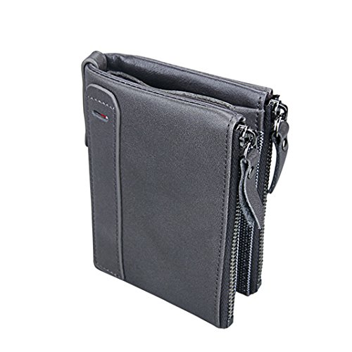 Holder Purse Card Men Holder Photo Grey Bank Blocking Genuine for with Leather Double Bag RFID Wallet Male Grey Purse with Credit Leather Men's Men Card Short Cowhide 100 Coin Wallet TTaWrUf4