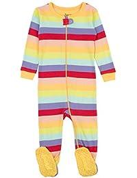 1c0fa54da0 Striped Baby Girls Footed Pajamas Sleeper 100% Cotton Kids   Toddler Pjs (0  Months