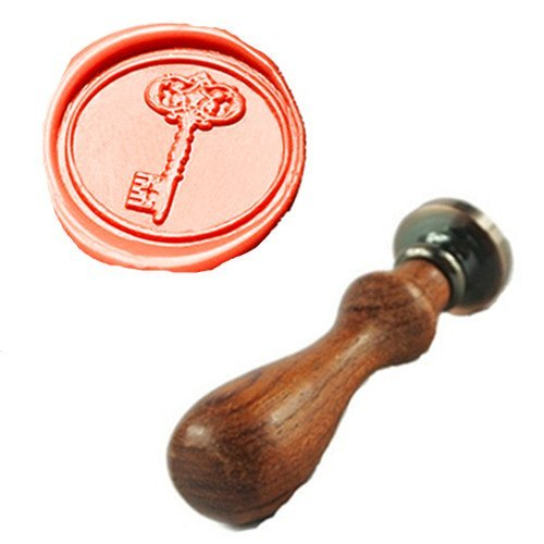 MDLG Vintage Key Custom Picture Logo Wedding Invitation Wax Seal Sealing Stamp Rosewood Handle ()