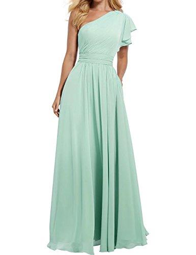 RJOAM Women's One Shoulder Bridesmaid Dress Long Asymmetric Prom Evening Gown Mint Size 14