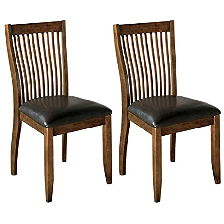 Ashley Furniture Signature Design - Stuman Dining Side Chair - Comb Back - Set of 2 - Brown Base and Black Upolstered Seat 1