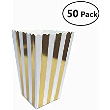 EBTOYS Popcorn Boxes Stripe Candy Bag Party Candy Favor Box,50 Pack (Gold)