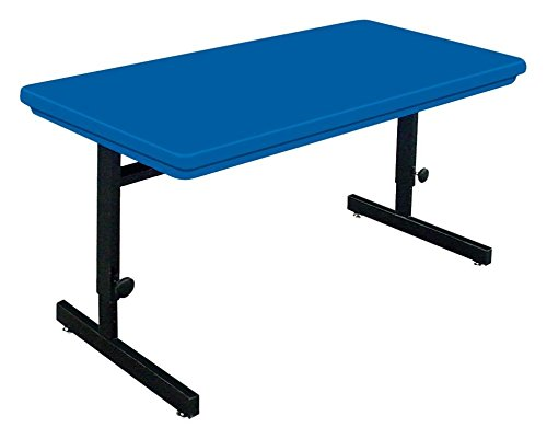 Blow Molded Adjustable Height Computer Table (24 in. x 48 in./Blue) by Correll Inc