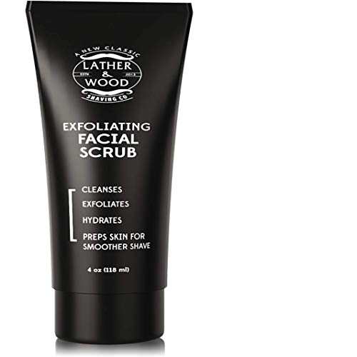 (Best Face Wash for Men - Lather & Wood's Face Scrub - Luxurious Exfoliating Mens Face Wash for the Man's Man. 4oz Facial Cleanser for Men.)