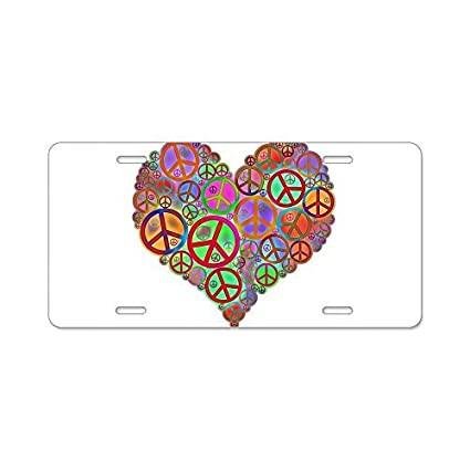 Zaeshe3536658 Peace Sign Heart Aluminum License Plate Front License Plate Decorative Car Auto Tag Car Tag Vanity Plate Tag Car Plate