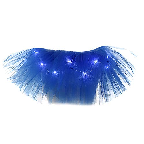 Women's Classic 5 Layered Tulle Tutu Skirt with LED Light Up Mini Skirt (Free Size, -