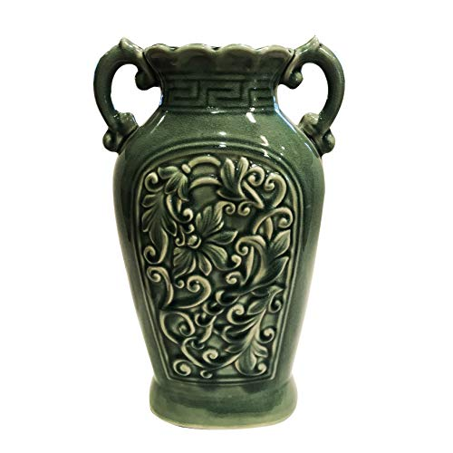 - Goodman and Wife Fine Ceramic Porcelain Green Ancient Aged Floral Embellished Asian Water Container