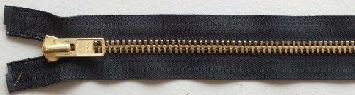 #10 Solid Brass Heavy Separating Metal Zipper by YKK Brand (Black, 18