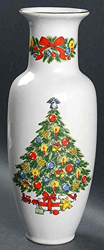 "Jamestown Christmas Treasure 11"" Vase ~ Gold Trim~"