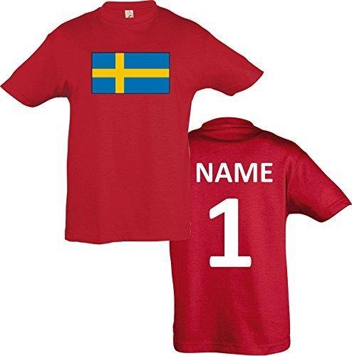 Kids T-Shirt Schweden Sweden Ländershirt mit Wunschnamen und Nummer diverse Farben, Farbe rot, Größe 116