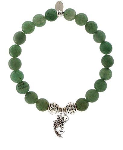 EvaDane Natural Semi Precious Green Aventurine Gemstone Tibetan Bead Koi Fish Charm Stretch Bracelet - Size 7 Inch - Green Charm Fish