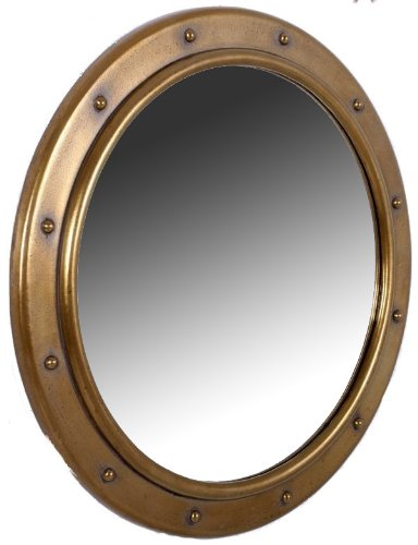 Nautical Tropical Imports Porthole Mirror Wall Mount Antique Brass No Dogears 20 - Bathroom Hull Mirrors