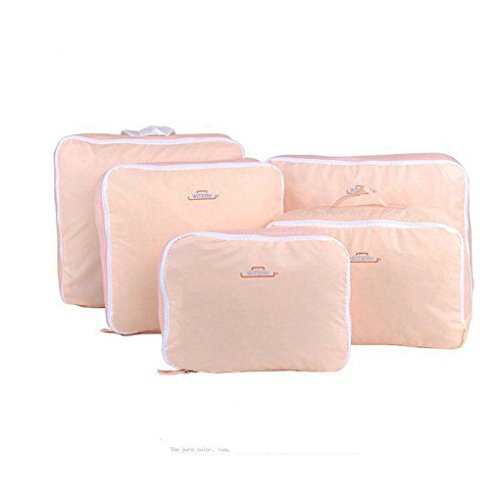 Clothes Travel Luggage Organizer Pouch (Light Pink) Set of 6 - 3