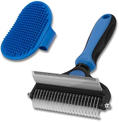 CGBE Dog Brush and Cat Brush, 2 in 1 Pet Undercoat Rake Grooming Tool for Deshedding, Mats & Tangles Removing, Shedding Brush and Dematting Comb for Large Small Dogs & Cats' Long & Short Hair Remover