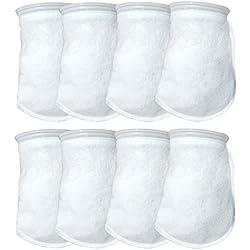 Aquatic Experts 7 Inch Filter Socks 200 Micron - 7 Inch Ring by 8 Inch Long Filter Socks - 8 Pack Medium - Aquarium Felt Filter Bags - Custom Made in The USA