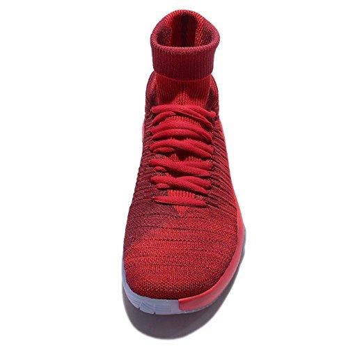 NIKE Herren Hyperdunk Flyknit 2016 Basketballschuhe Team Rot / Metallic Platinum / Universität Rot