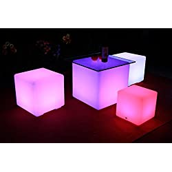 LED Rechargeable Light Up Furniture - Indoor Outdoor Use - Waterproof with Remote - By Playlearn (40cm Cube)