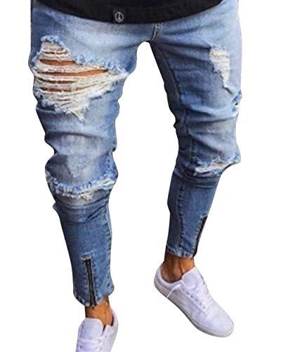 Slim Fit Mens Destroyed Look Stretch Vintage Pantalones Skinny Jeans Fashion Ripped Pantalones De Mezclilla Casual Jeans Pantalones Hellblau