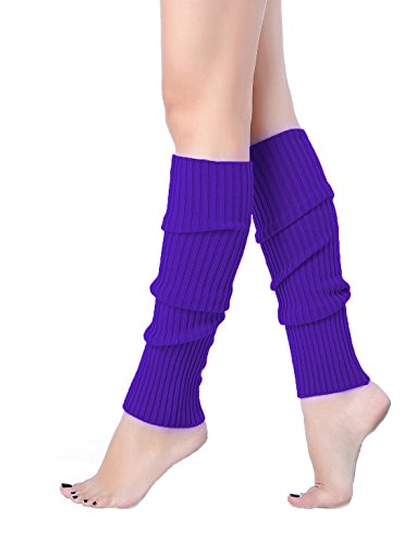 V28 Women Juniors 80s Eighty's Ribbed Leg Warmers for Party Sports (one size, Bright Purple)