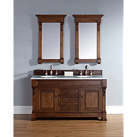 James Martin 147 114 5671 GLB Brookfield 60 Country Oak Double Vanity With Galala Beige Stone Top